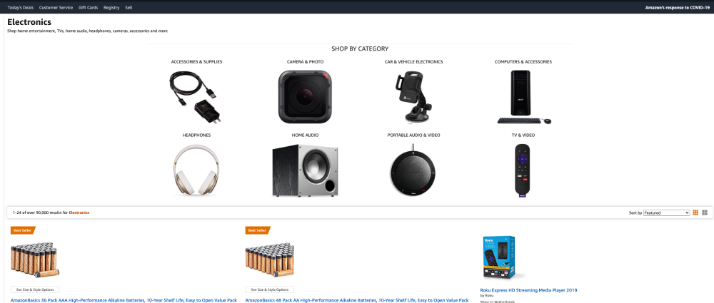 Hicks Law applied to Amazon their website